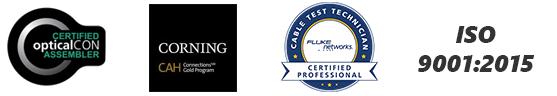 certified opticalCON assembler, Corning gold assembler, Fluke certified, ISO 9001:2015